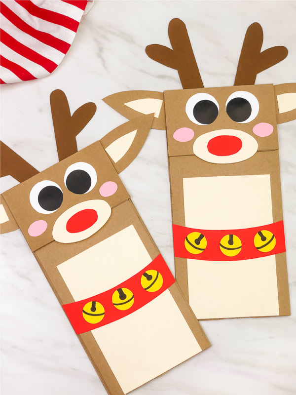 two paper bag reindeer crafts