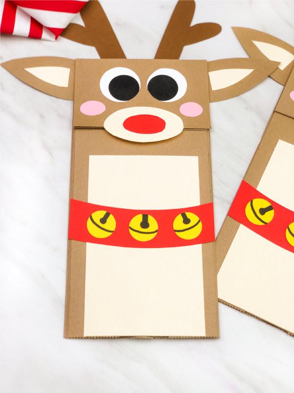 closeup of paper bag reindeer craft