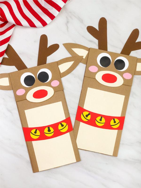 two paper bag reindeer crafts