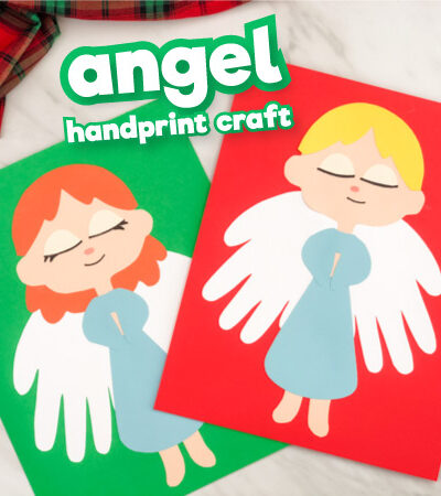 Girl and boy handprint angel crafts with the words angel handprint craft on the top