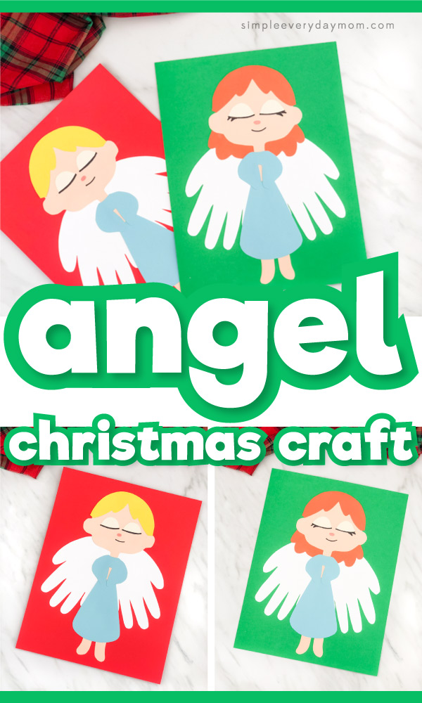 Collage of angel handprint crafts with the words angel Christmas craft in the middle