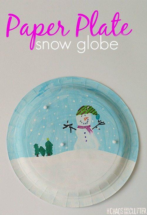 Paper Plate Snowglobe Craft