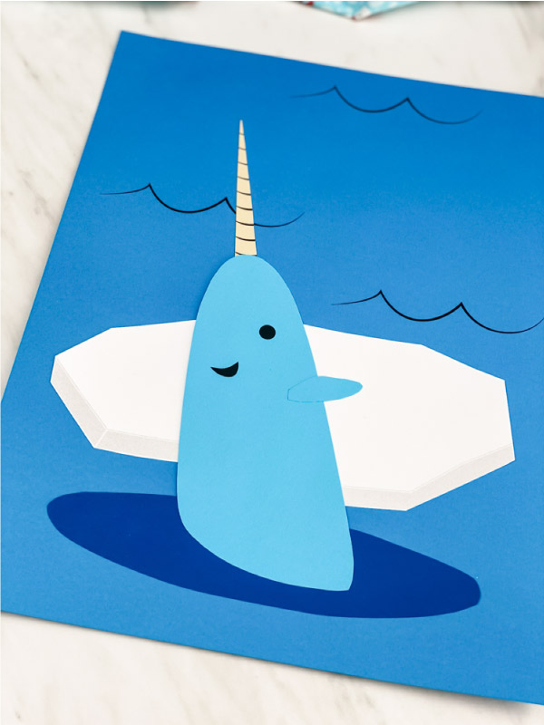 Closeup of narwhal paper craft