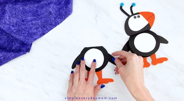 Hands gluing puffin wings to craft