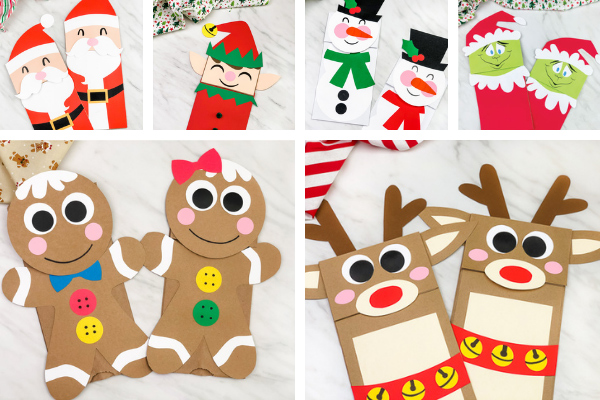 christmas paper bag crafts for kids image collage
