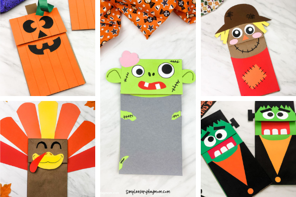 fall paper bag crafts for kids image collage