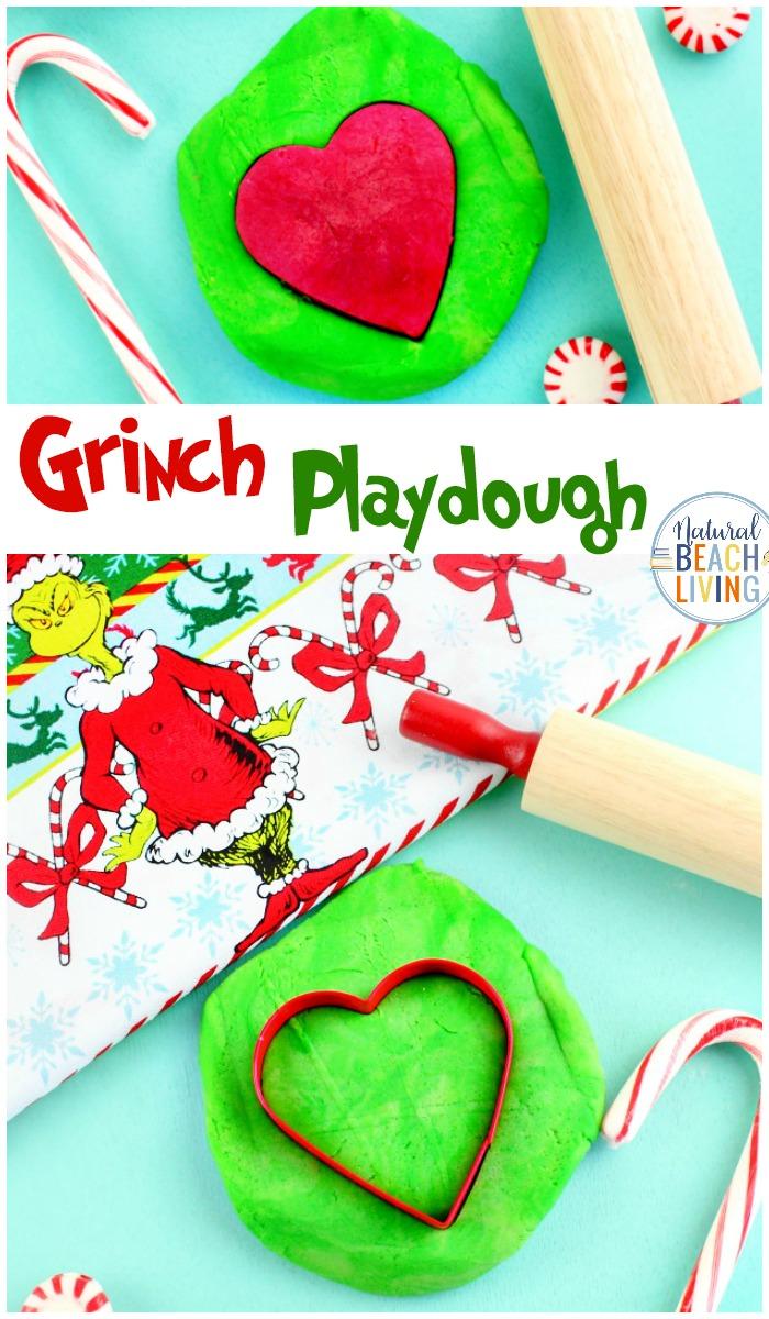 Grinch Playdough - Christmas Sensory Dough Recipe - Natural Beach Living