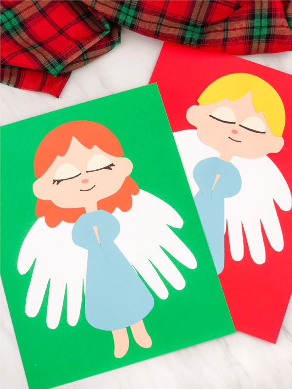 Girl and boy handprint angel crafts