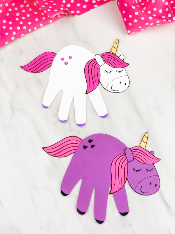 White and purple handprint unicorn