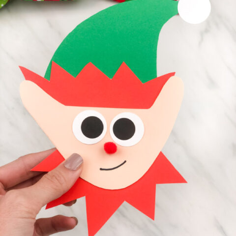 Elf Handprint Card For Christmas