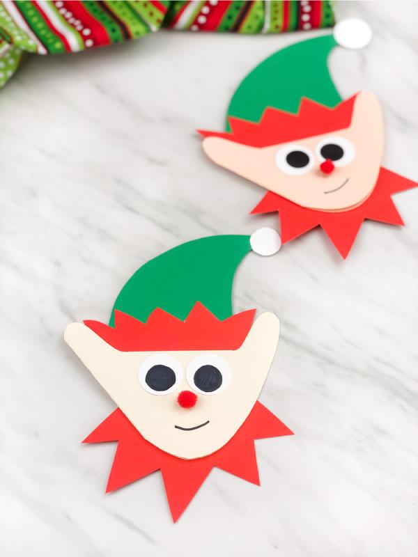 Two handprint elf card crafts