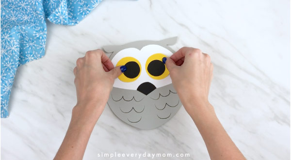 Hands gluing owl eyes to owl face