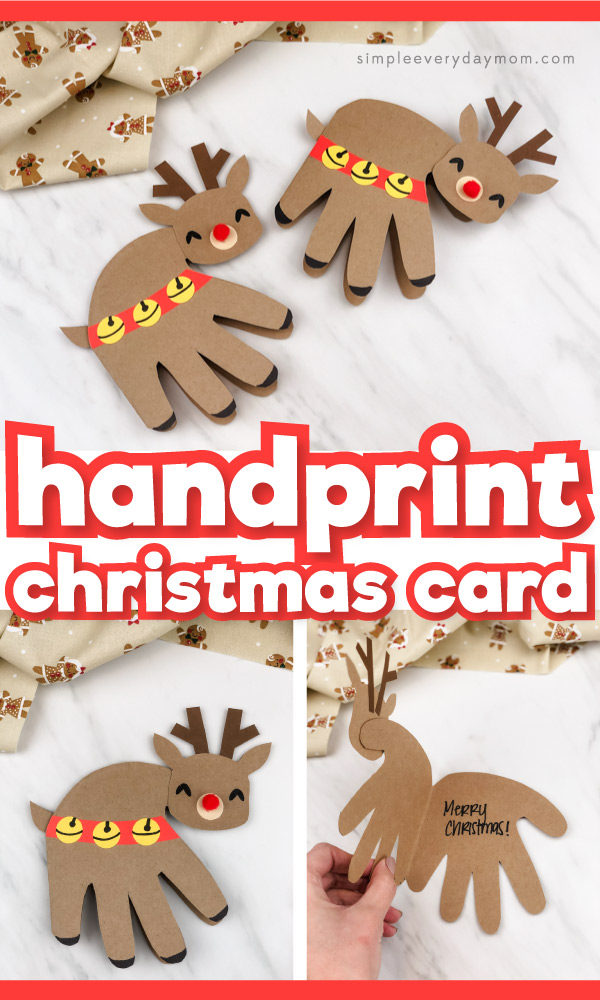 Collage of handprint reindeer card craft images with the words handprint Christmas card in the middle