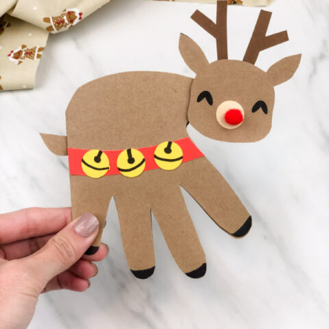 Handprint Reindeer Card For Christmas