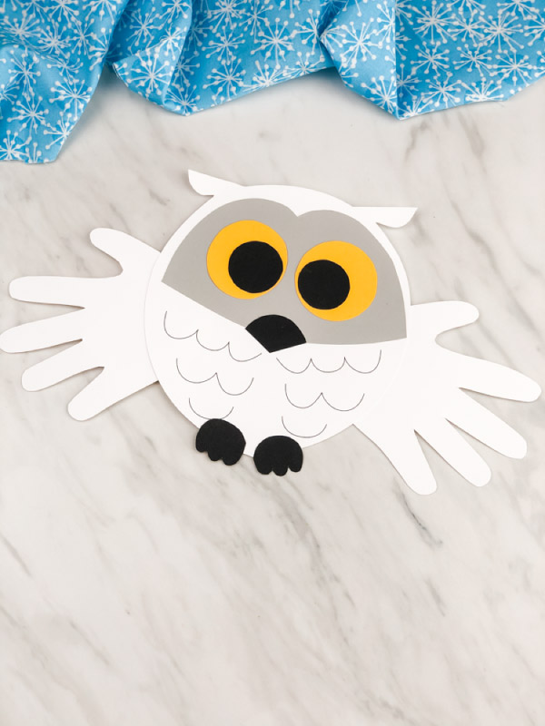 handprint snowy owl craft