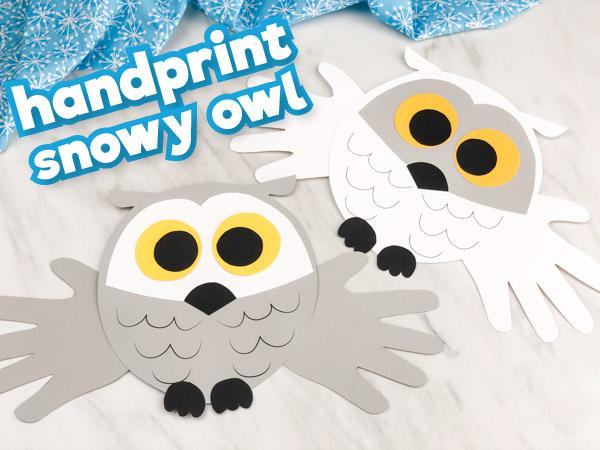 Handprint Snowy Owl Craft