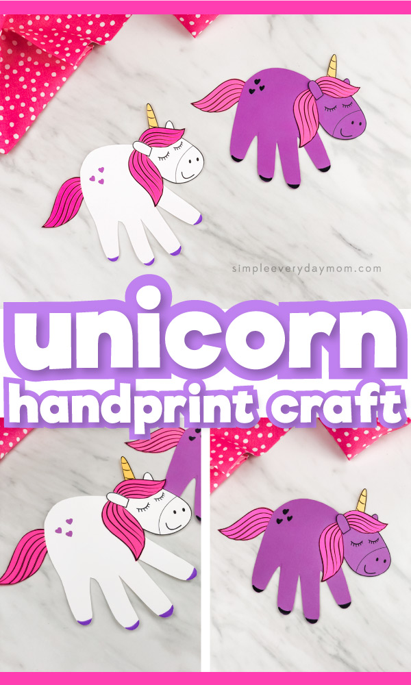 Collage of handprint unicorn craft images with the words unicorn handprint craft in the middle