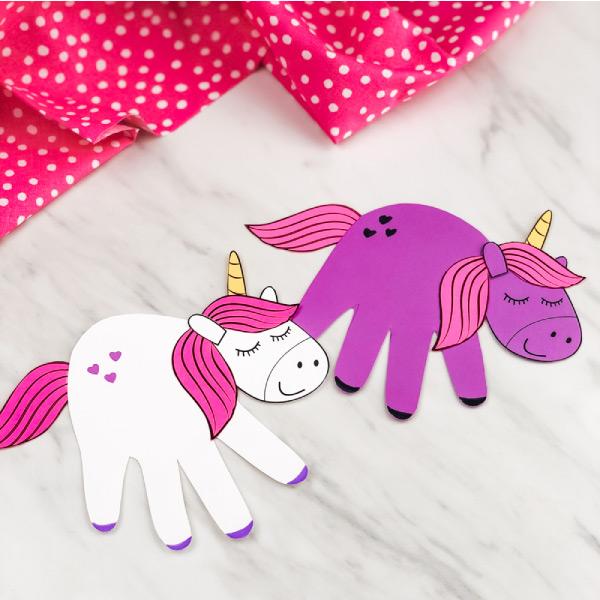 White and purple handprint unicorns
