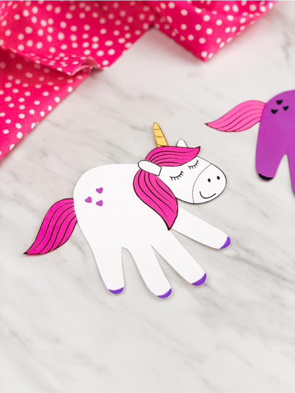 White handprint unicorn craft