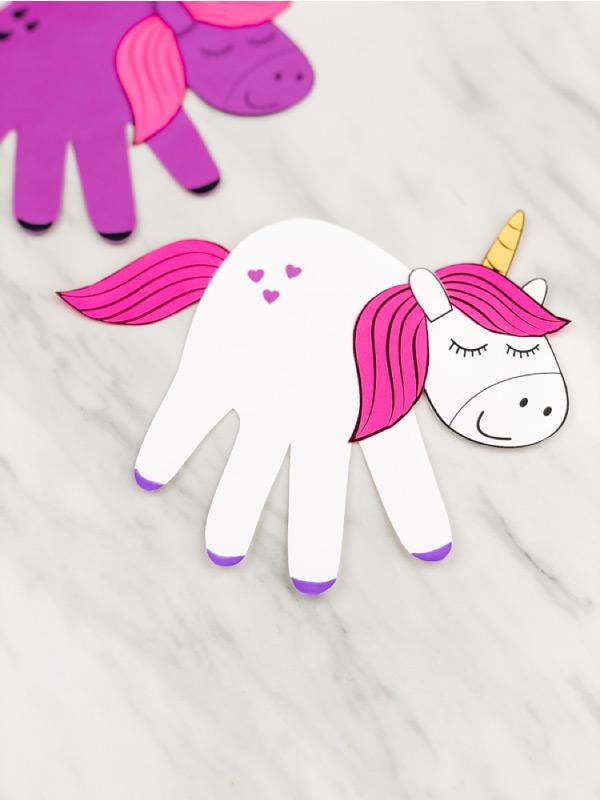 White handprint unicorn