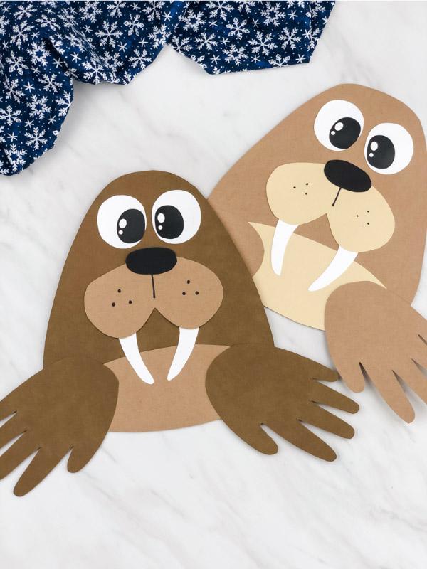 Dark brown and light brown handprint walrus