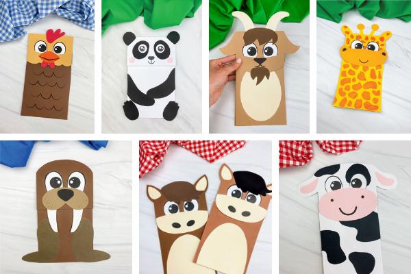 animal paper bag crafts for kids image collage