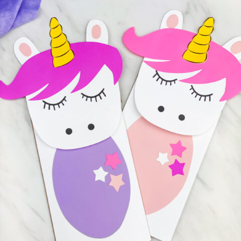 2 unicorn paper bag puppet crafts