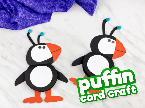 Two puffin crafts with the words puffin card craft in the corner