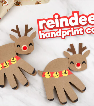 Two handprint reindeer card crafts with the words reindeer handprint card in the corner