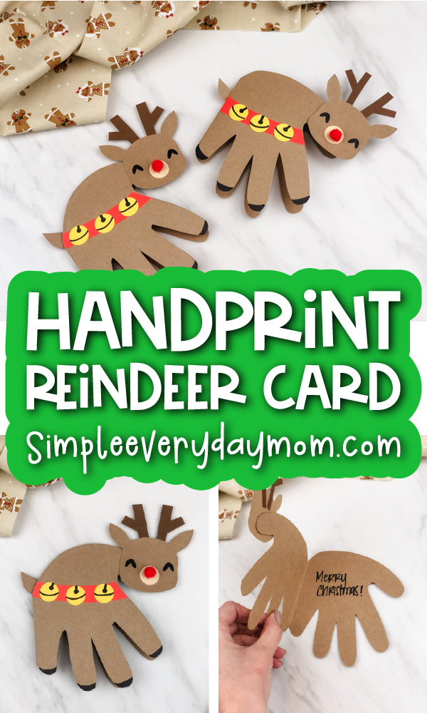 handprint reindeer card image collage with the words handprint reindeer card