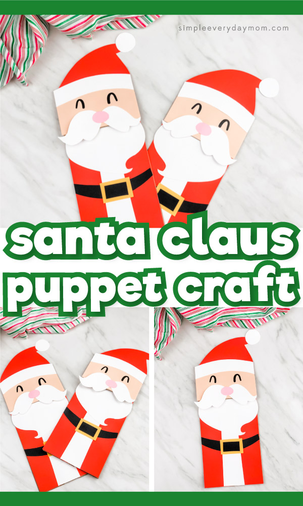 Paper bag Santa craft images with the words Santa Claus puppet craft in the middle