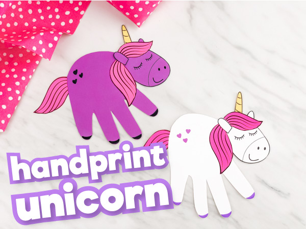 Purple and white handprint unicorn crafts