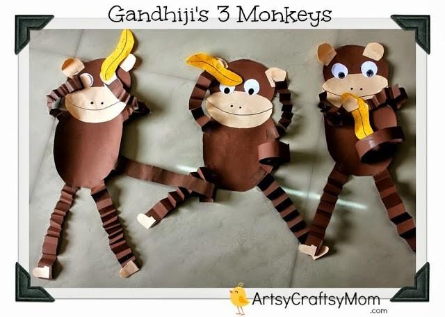 Gandhi Jayanti - Monkey craft with Free printable