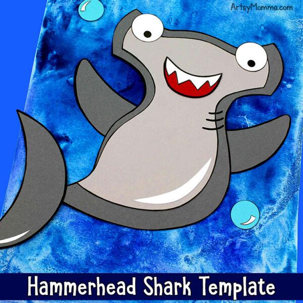 Printable Hammerhead Shark Craft with Watercolor Ocean Background Tutorial