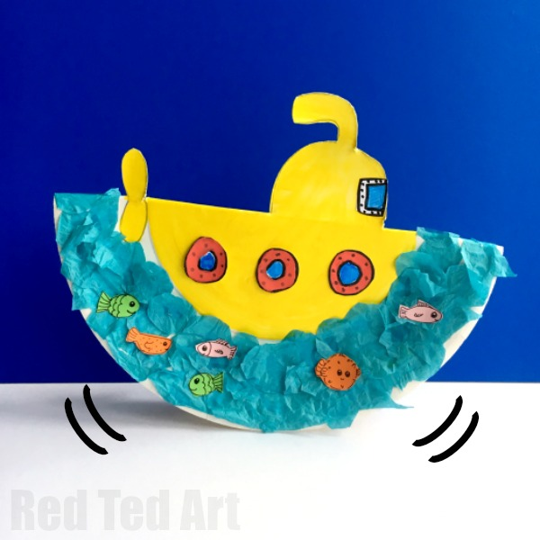 Rocking Paper Plate Submarine Craft for Preschoolers