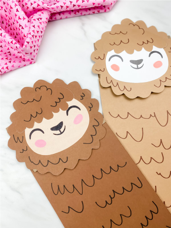 two paper bag llama crafts