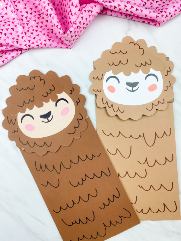brown and light brown llama paper bag puppet craft