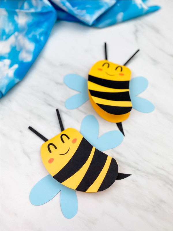 Two paper bee card crafts
