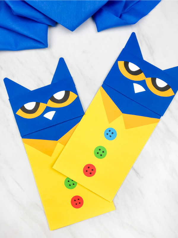 Two Pete the cat puppet crafts