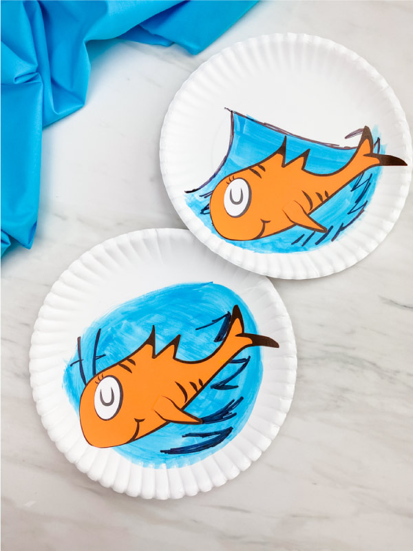 cat in the hat fish paper plate craft