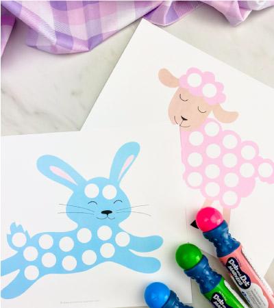 Bunny and sheep do a dot printables