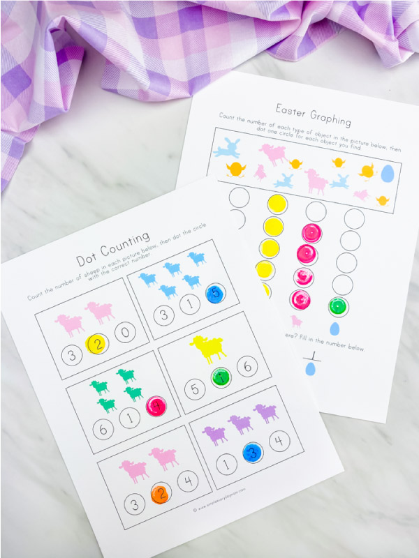 Counting and graphing dot marker worksheets