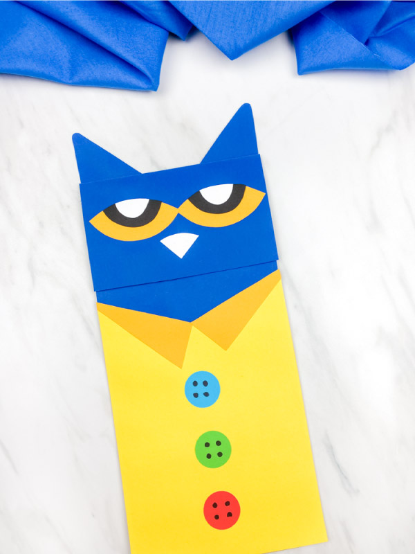 One Pete the cat paper bag puppet