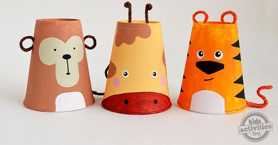 Foam Cup Crafts - Set of 3 Safari Animals