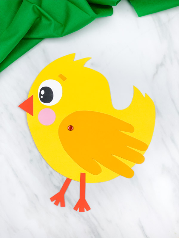 One handprint chick card craft
