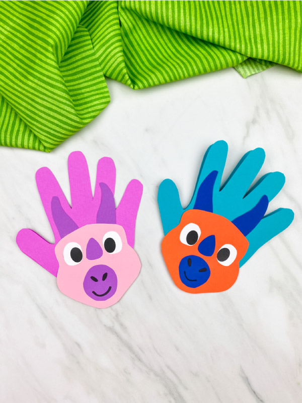 pink/purple and orange/blue handprint dinosaur cards