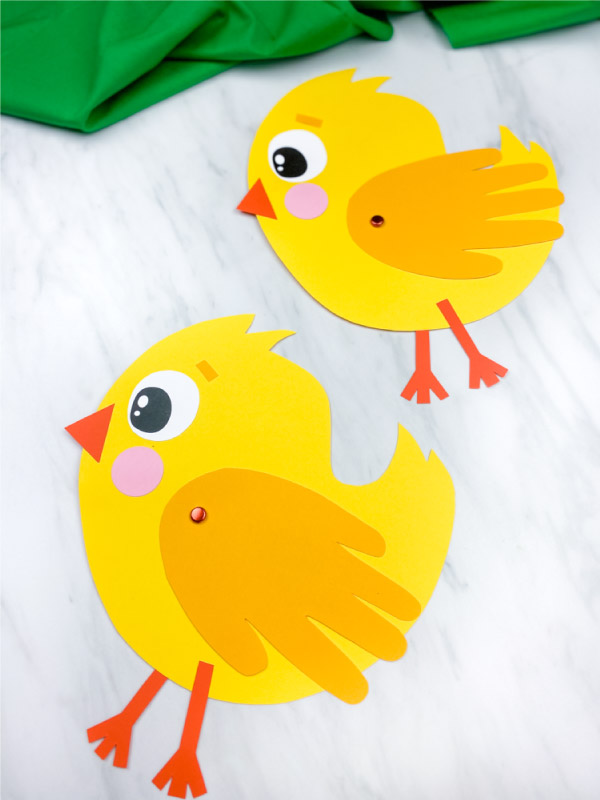 Two handprint chick crafts