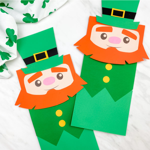 Two leprechaun paper bag puppets crafts