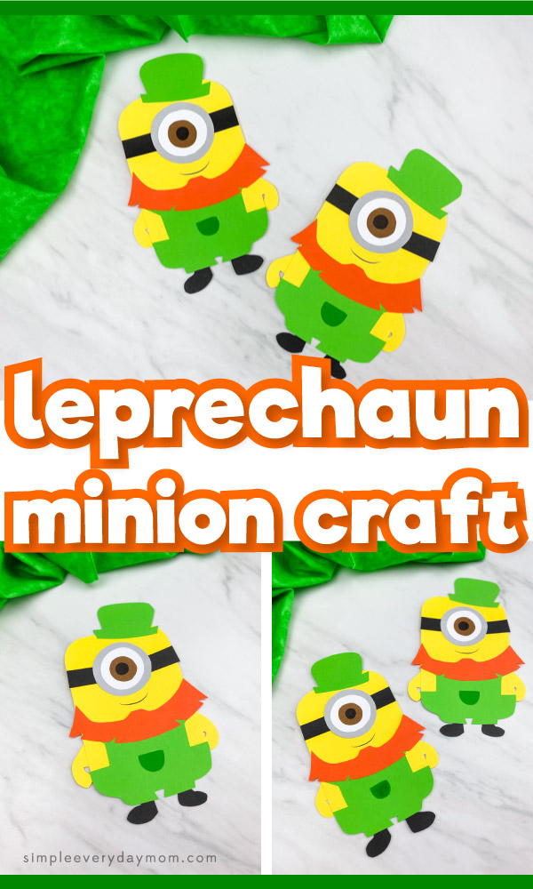 "Collage of leprechaun minion craft images with the words ""leprechaun minion craft"" in the middle"