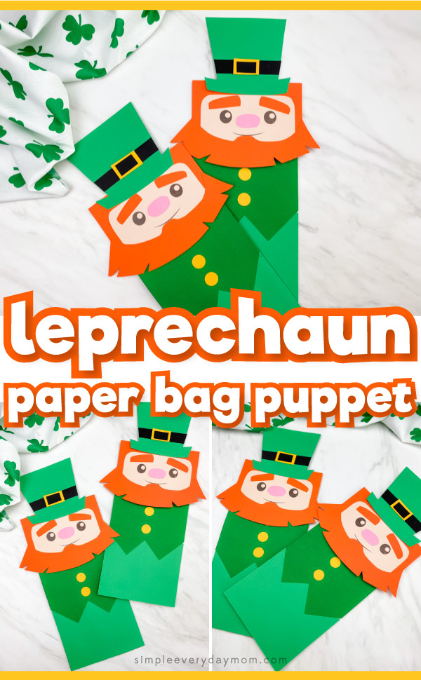 "Collage of leprechaun paper bag puppet images with the words, ""leprechaun paper bag puppet"" in the middle"